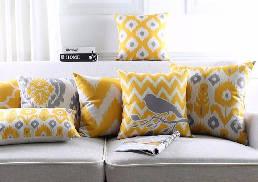 żółte poduszki dekoracyjne
