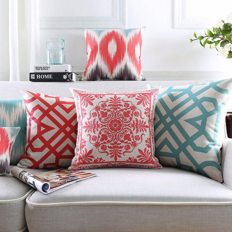 Poduszki dekoracyjne, wzór ludowy, czerwień, koral